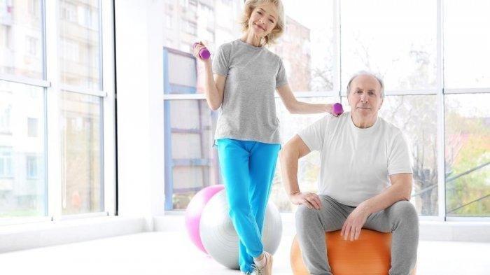 Ilustrasi lansia yang gemar berolahraga
