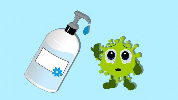 Ilustrasi pentingnya penggunaan hand sanitizer