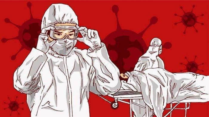 Ilustrasi tenaga medis yang menangani pasien COVID-19