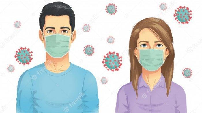 ilustrasi menggunakan masker untuk mencegah penularan covid-19