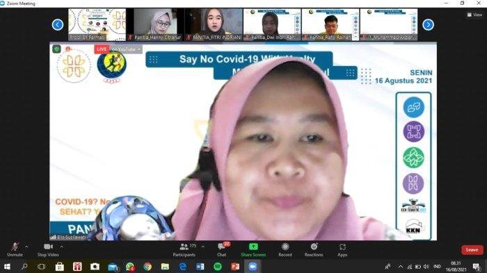 Tangkapan layar sambutan dari dosen pembimbing Ibu apt. Elis Susilawati, M.Si., Apt