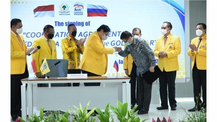Partai Golkar dan salah satu partai dari negara sahabat Rusia, United Russia Party (Partai Rusia Bersatu) menandatangani kerja sama (MoU) bilateral di berbagai sektor.