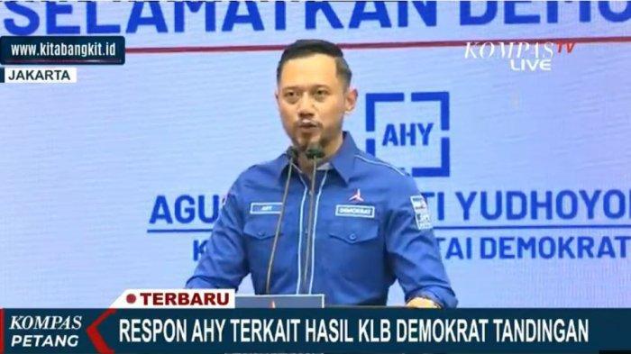 Ketua Umum Partai Demokrat Agus Harimurti Yudhoyono (AHY) jumpa pers menyebut KLB di Sumut tidak sah, ilegal, atau abal-abal.