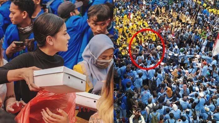 Aksi Awkarin Sigap di Tengah Demonstrasi Mahasiswa, Terjun Bagi-bagi Ribuan Nasi Kotak Satu Truk