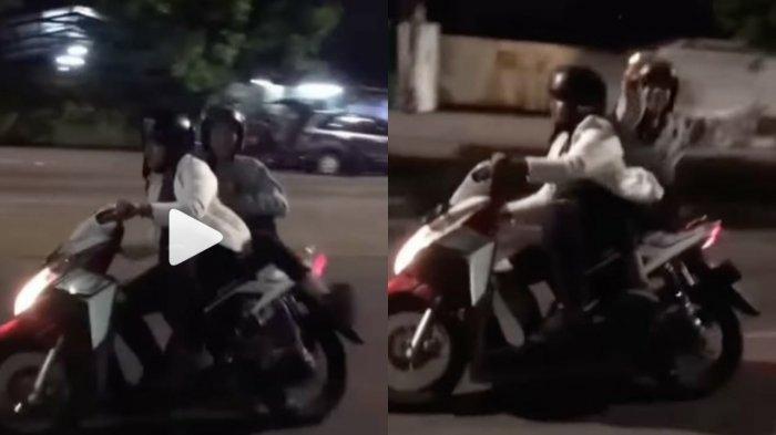 Video Viral, Dua Pemuda di Bandung Ugal-ugalan Naik Motor di Malam Hari, Endingnya Paling Ditunggu