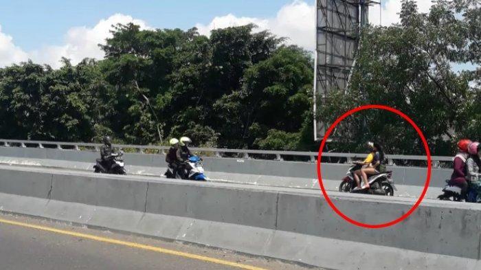 Aksi Nekat Wanita Bercelana Pendek Lawan Arus Hindari Razia di Jalan Layang Pasupati, Terekam Kamera