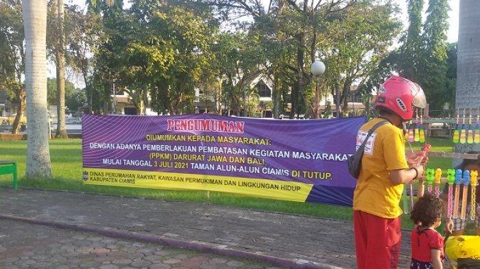PPKM Darurat, Alun-alun Ciamis Ditutup Tapi PKL Nekat Berjualan, Menuju Alun-alun Disekat di 6 Titik