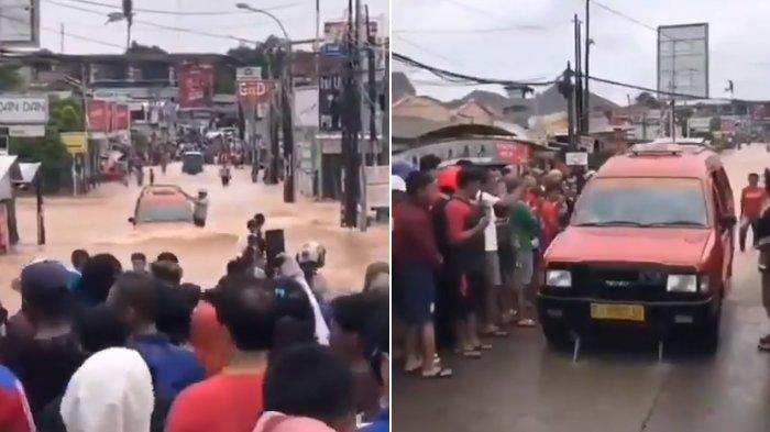 Aneh bin Ajaib, Mobil Angkot Ini Tak Mogok Saat Terjang Banjir, Disambut Sorak-sorai Bak Pahlawan