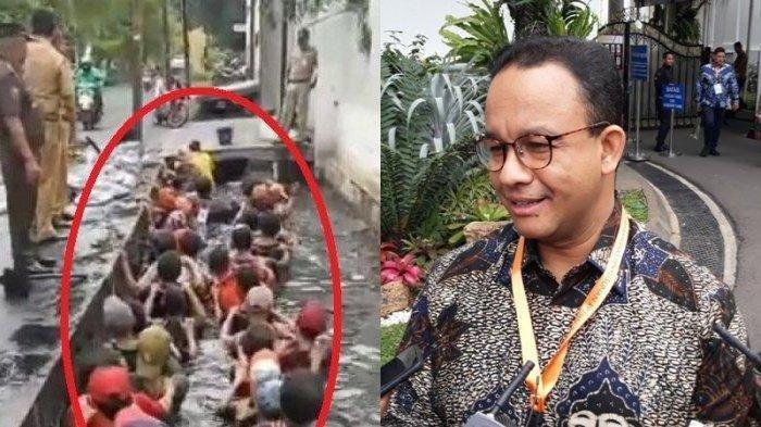 Viral Pegawai Honorer Masuk Got, Anies Baswedan Berhentikan Lurah Jalembaran, Minta Jaga Adab