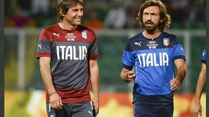 Antonio Conte dan Andrea Pirlo saat masih menjadi pelatih dan pemain di timnas Italia.