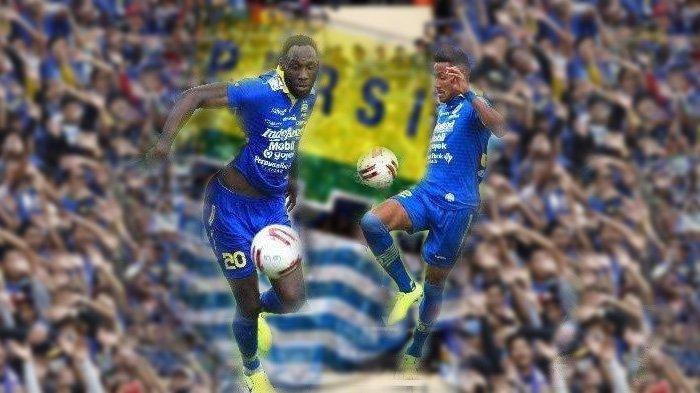 Apa Kata Bobotoh - Aksi Geoffrey Castillion dan Wander Luiz bersama Persib Bandung di laga lawan Melaka United. (Foto: Tribun Jabar/Deni Denaswara)