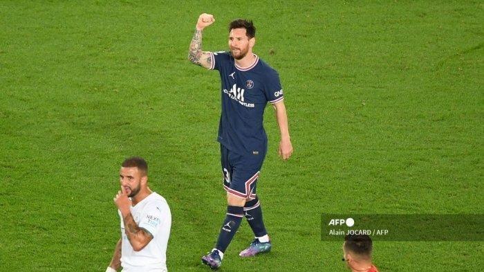Reaksi Lionel Messi Setelah Cetak Gol ke Gawang Manchester City dalam Liga Champions Semalam