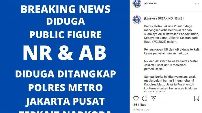 artis NR dan AB diduga ditangkap polisi terkait narkoba