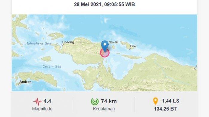 Baru saja, gempa bumi melanda Manokwari Selatan, Papua Barat, Jumat (28/5/2021).