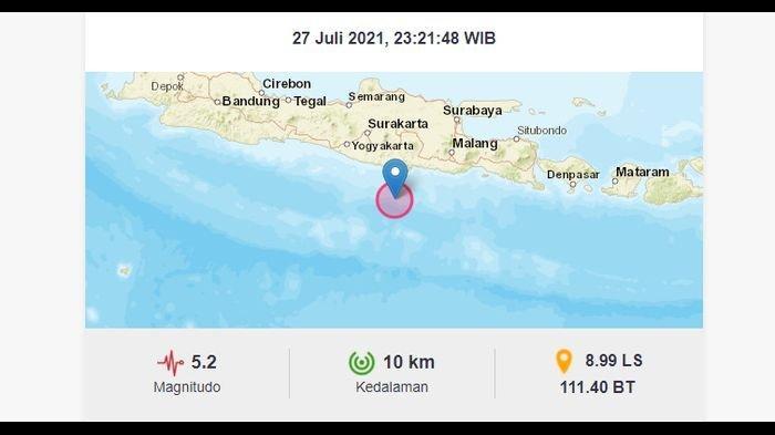 Gempa 5.2 Magnitudo di Pacitan Jatim Terasa Hingga Gunung Kidul Yogyakarta