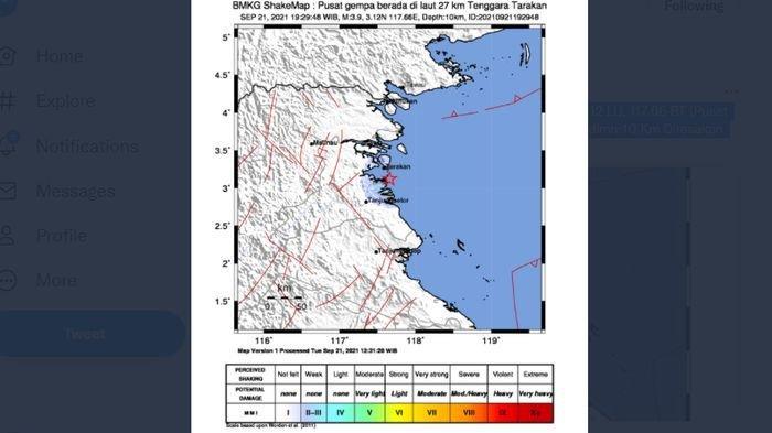 Baru saja malam ini gempa bumi melanda Tarakan, Kalimantan Utara, Selasa (21/9/2021).