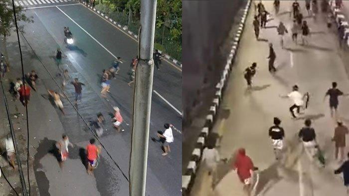 Demi Konten YouTube dan TikTok, Sekelompok Bocah di Surabaya Perang Sarung Isi Kerikil di Jalan