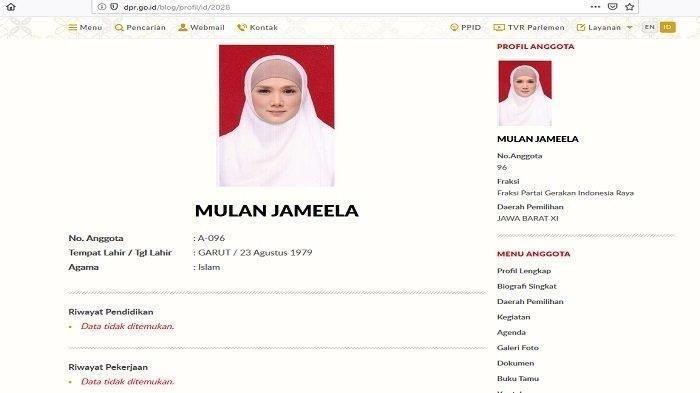 Biodata Mulan Jameela dalam situs DPR