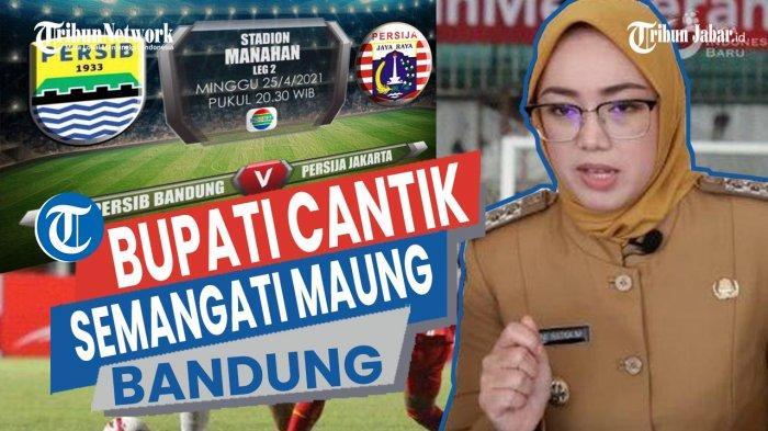Bupati Purwakarta Anne Ratna Mustika di Purwakarta, Senin (16/3/2020). Bupati yang akrab disapa Ambu Anne ini dengan khusus memberikan dukungannya untuk Persib Bandung.