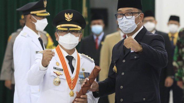Bupati Cianjur Herman Suherman dan Gubernur Jabar Ridwan Kamil