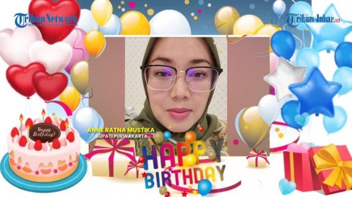 Bupati Purwakarta, Anne Ratna Mustika mengucapkan HUT ke-21 Tribun Jabar. Tribun Jabar akan berulang tahun pada Selasa, 18 Februari 2020.