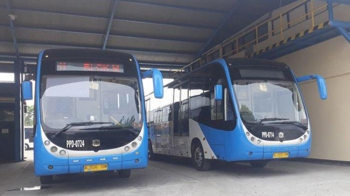 Bus Transjakarta merek Zhong Tong di Pool PPD Bus Transjakarta Pulogadung, Jakarta Timur, Rabu (16/10/2019).