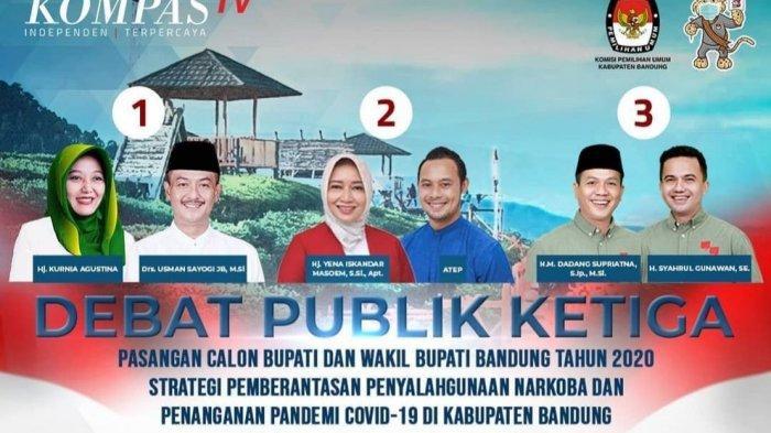 LIVE Kompas TV Debat Publik Pilkada Bandung 2020, Nia, Yena, Dadang Bicara Covid-19, Siapa Juara?