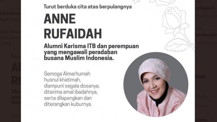 INNALILLAHI, Desainer Busana Muslimah Anne Rufaidah Meninggal Dunia, Alumnus Kharisma ITB