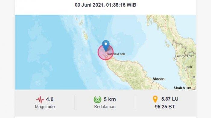 Dini hari ini, Kamis (3/6/2021), gempa bumi melanda Kota Sabang, Aceh.