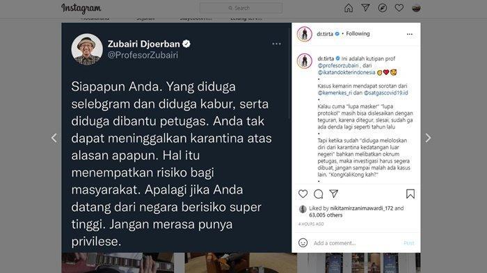 Dokter Tirta turut bereaksi atas viralnya kabar Rachel Vennya kabur dari karantina setelah pulang dari New York, Amerika Serikat.