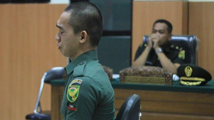 Dituntut Seumur Hidup dan Dipecat dari TNI, Pembunuh Kasir Indomaret Vera Oktaria, Prada DP Menangis