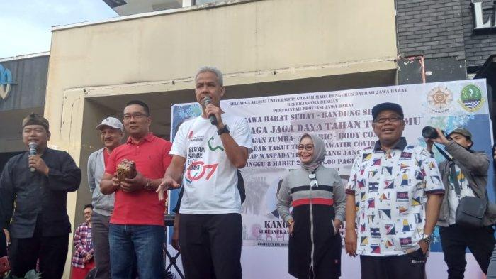 Kampanye di Car Free Day Dago, Ridwan Kamil dan Ganjar Pranowo Sampaikan Cara Cegah Virus Corona