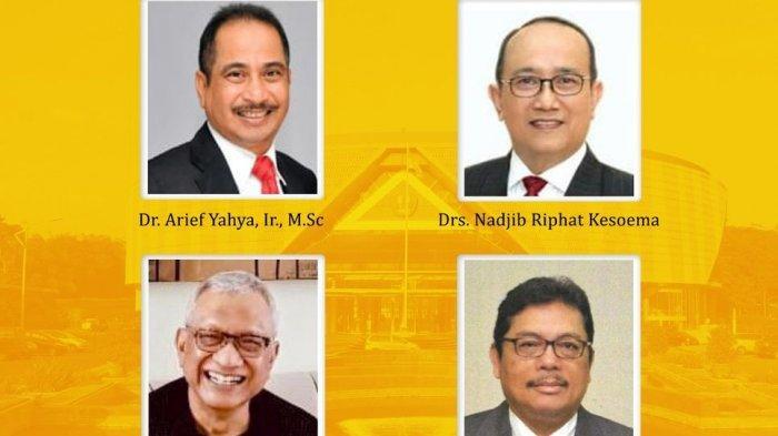 Empat sosok anggota MWA yang mewakili unsur masyarakat periode 2020-2025 yang telah resmi ditetapkan hasil rapat pleno SA Unpadyang dilaksanakan secara daring dan luring di Executive Lounge Unpad Jl. Dipati Ukur 35 Bandung, Sabtu (28/11/2020).