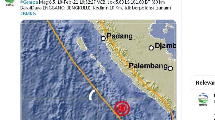Gempa 6,5 Baru Saja Melanda Enggano Bengkulu, yang Kedua Sejak Sore, BMKG: Hati-hati Gempa Susulan