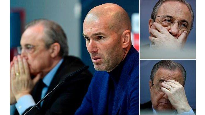 Ekspresi Florentino Perez saat mendengar keputusan Zinedine Zidane mundur dari Real Madrid.