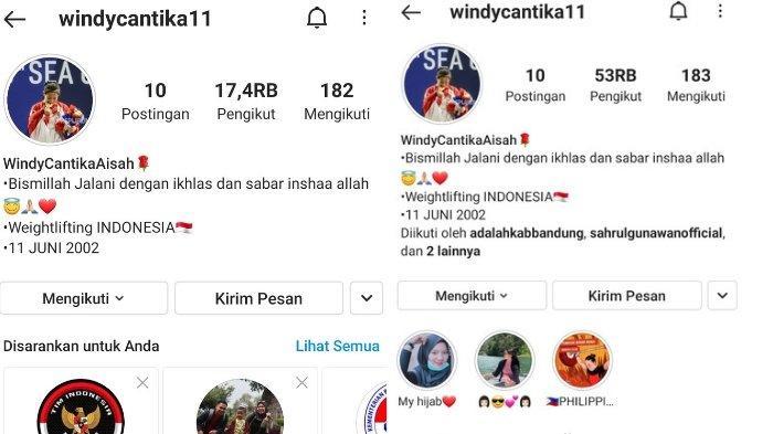Followers akun Instagram Windy Cantika Aisah  naik drastis.