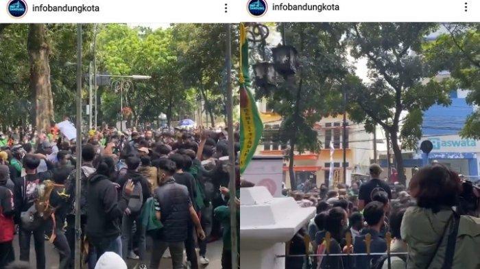 Demo atau unjuk rasa hari ini di Balai Kota Bandung setelah ada pengumuman perpanjangan PPKM.
