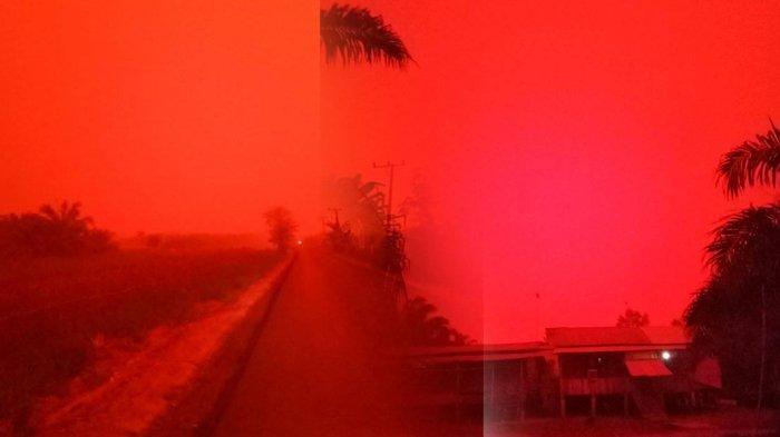 FOTO-FOTO Langit Merah pada Siang Hari akibat Kebakaran Hutan, Harus Nyalakan Lampu Bak Tengah Malam