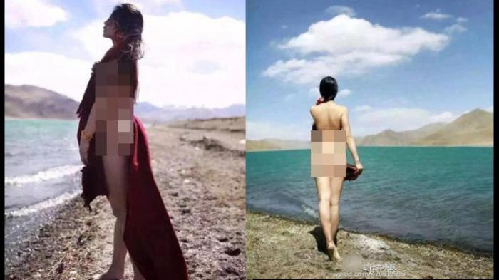 Heboh! Foto Wanita Berpose Tanpa Busana di Danau Suci Undang Kutukan Netizen