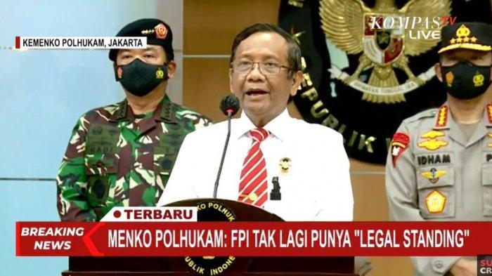 Pemerintah Indonesia, melalui Menteri Koordinator Politik Hukum dan HAM (Menkopolhukam) Mahfud MD mengumumkan secara FPI resmi dibubarkan.