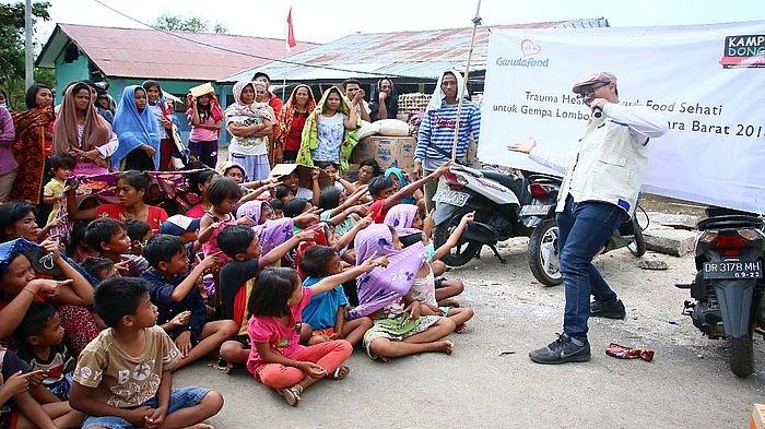 Anak-anak Korban Gempa Lombok Dapat Terapi Trauma Healing dari GarudaFood Sehati dan KDI