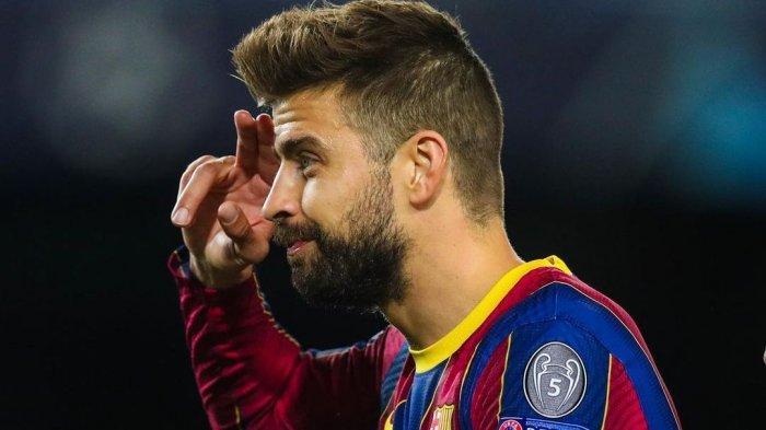 Gaya bek Barcelona  Gerard Pique setelah mencetak gol ke gawang Dyanamo Kiev  dalam  lanjutan pekan ketiga fase grup G Liga Champions, pada Kamis (5/11/2020) dini hari.