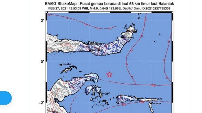 Gempa yang terjadi Balantak, Sulawesi Tengah, Sabtu (27/2/2021) siang.