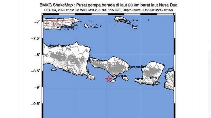 Gempa Bumi Terkini, Baru Saja Terjadi di Nusa Dua Bali Kamis Malam, Terasa Sampai Badung