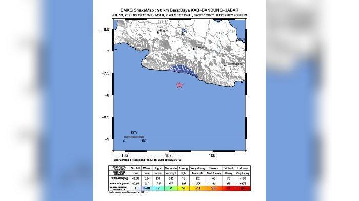 Gempa yang terjadi di selatan Jawa Barat hari ini, Senin (19/7/2021). Gempa terasa di Bandung, Garut selatan, dan Cianjur selatan.