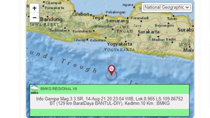 Gempa Melanda Bantul Yogyakarta Malam Ini, Pusat Lindu di Laut Selatan, Ini Unggahan BMKG