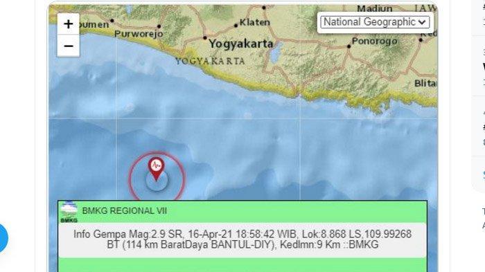 Baru Saja Malam Ini Gempa Melanda Bantul Yogyakarta, Pusat Lindu di Laut Selatan, Ini Unggahan BMKG