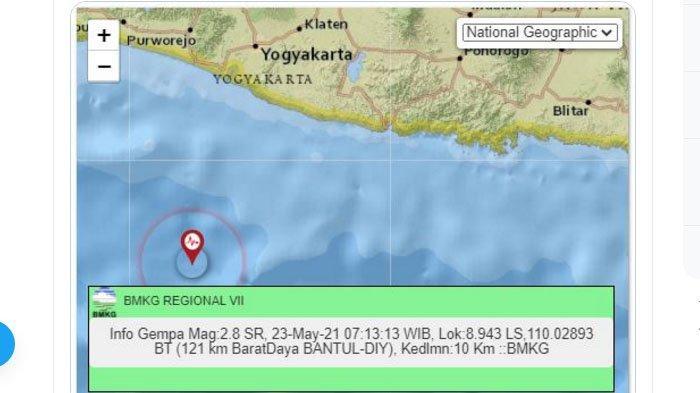 Pagi Ini Gempa Terjadi di Dekat Bantul, Pusat di Laut Selatan, Dini Hari Tadi Lindu di Gunungkidul