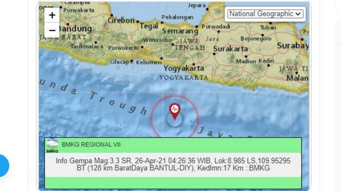 Gempa di laut selatan Bantul, Senin (26/4/2021) dini hari. Ada dua gempa dini hari tadi di laut selatan Jawa.