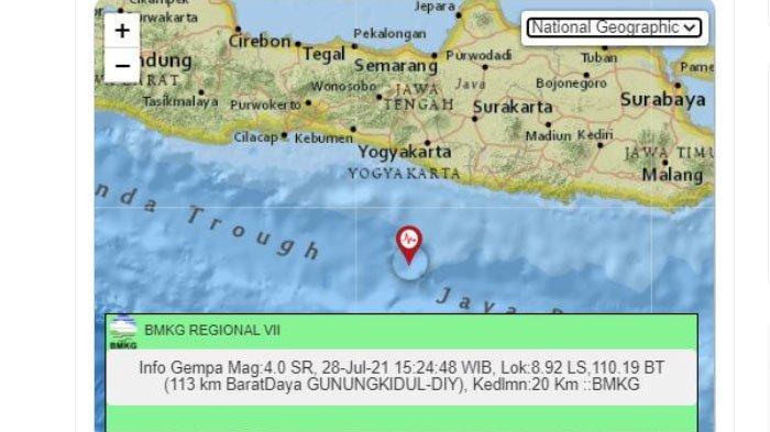 Sore Ini Gempa Menggoyang Bantul dan Gunungkidul Yogyakarta, Pusatnya di Laut Selatan, Ini Kata BMKG